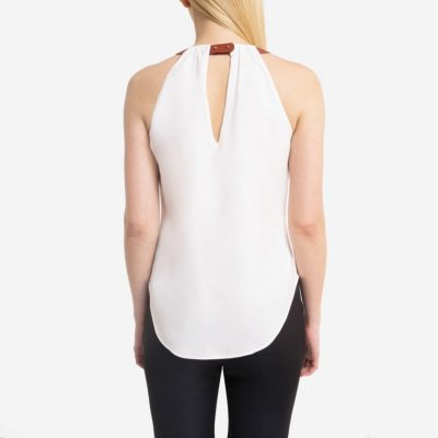 Saying Goodbye Leather Strap Halter Tank