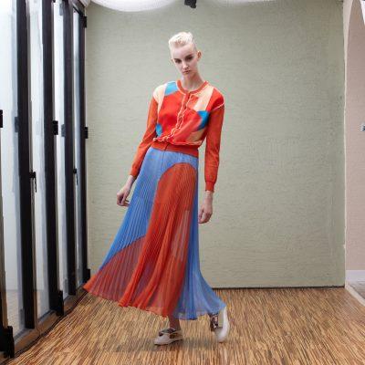 Pleated Colour Block Maxi Skirt