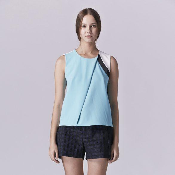 Megan Pleated Colourblock Top
