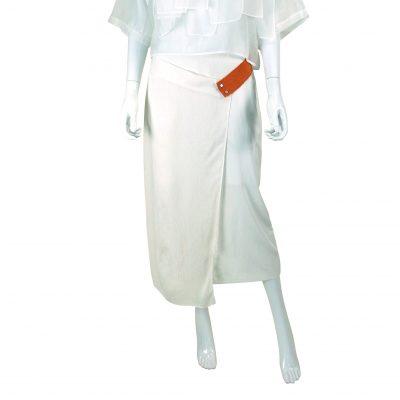 White Mix Overlap Midi Skirt