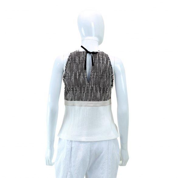 White Mix Textured Sleeveless Top