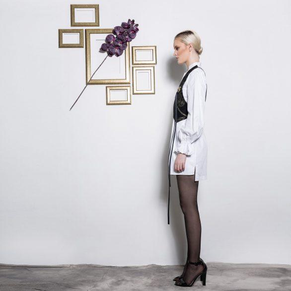 Cotton shirt dress with jacquard strap