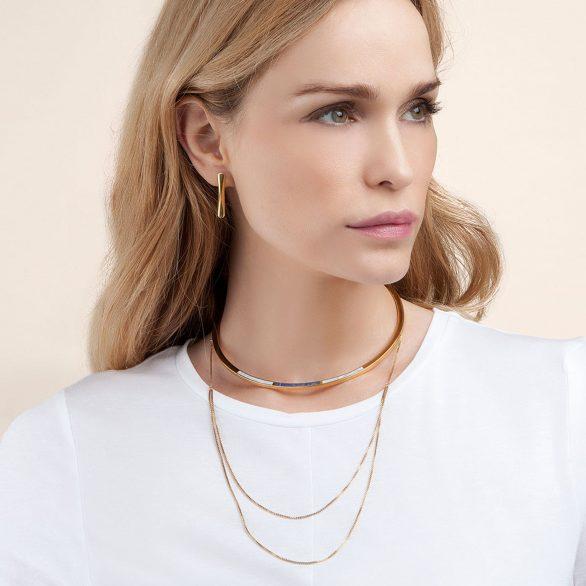 Trio Drape Collar Necklace In Jade & Marble