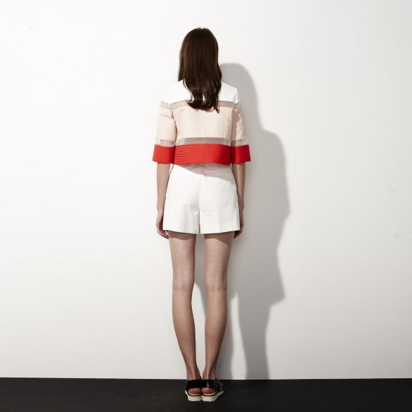 Cropped Colourblock Top - Red