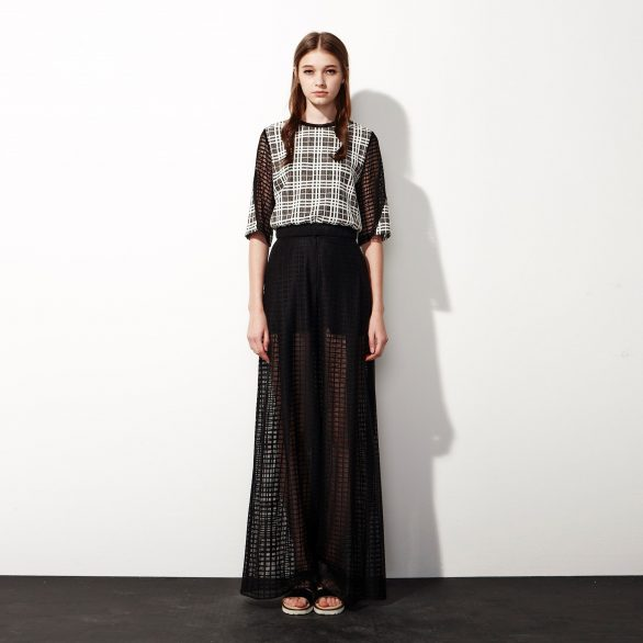 Netted Cropped Top - Black