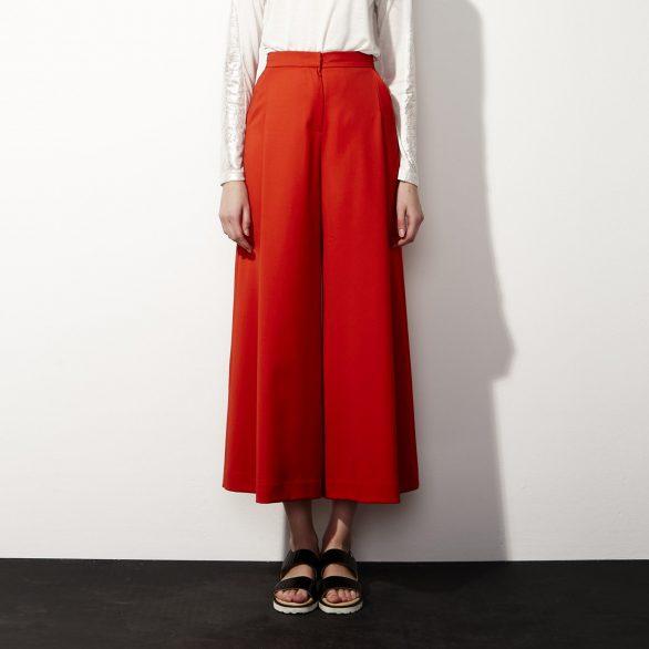 Crimson Pleated Culottes