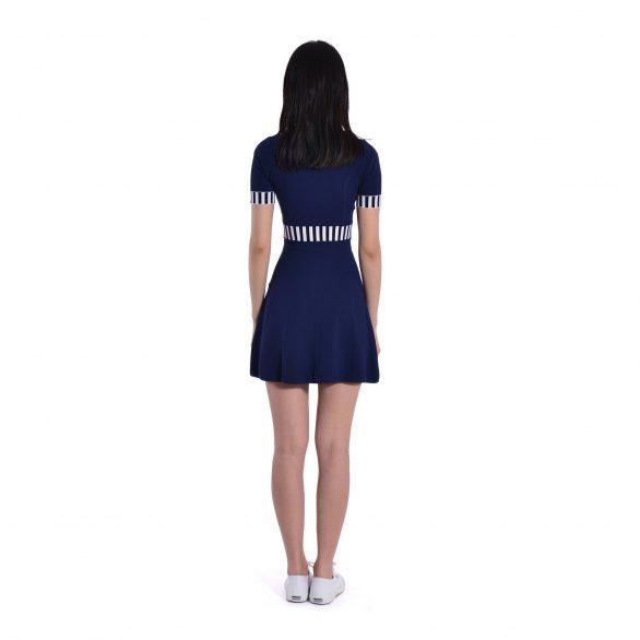 Talia Colourblocked Fit and Flare Dress - Blue