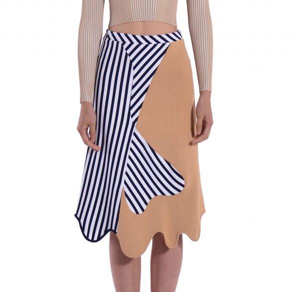 Anvil Colourblocked Assymetric Knit Skirt