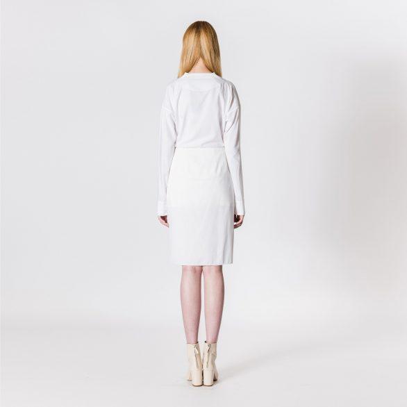 V-neck cotton long shirt