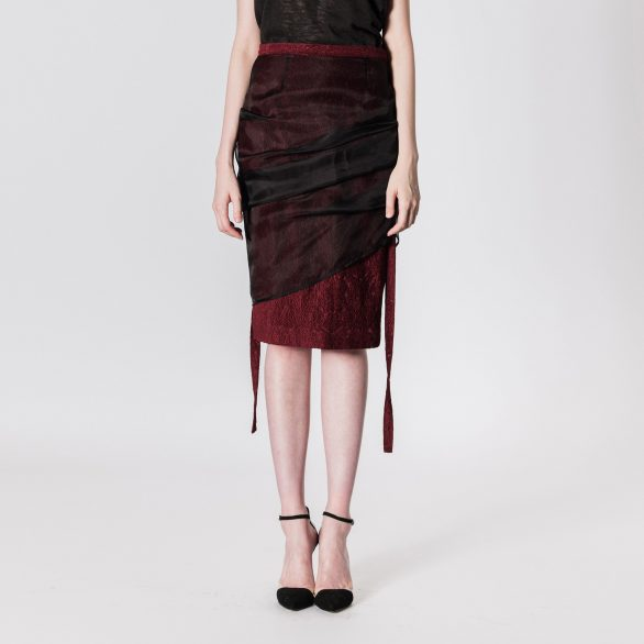 Cotton skirt with sheer layer
