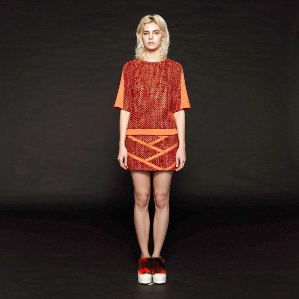 Contrast Colour Lines Mini Skirt