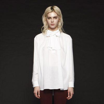 Feminine Ribbon Detail Cotton Blouse