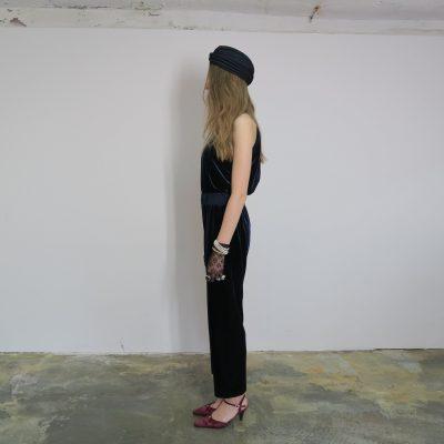 Halterneck Velvet Jumpsuit