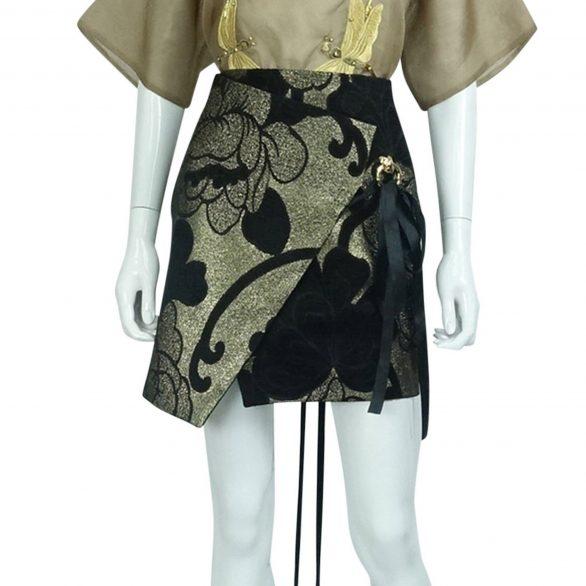 Asymmetric Silk Jacquard Skirt
