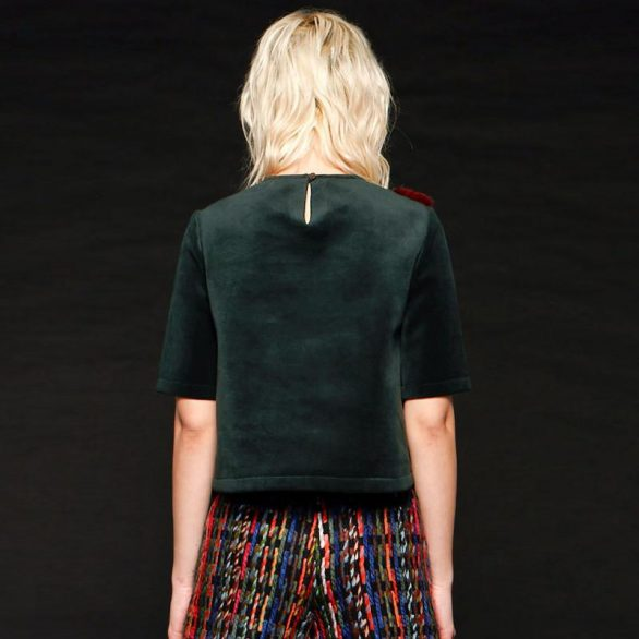 Mixed Patch Crop Top in Green