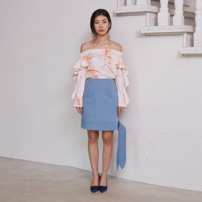 Light Denim Ribbon Skirt