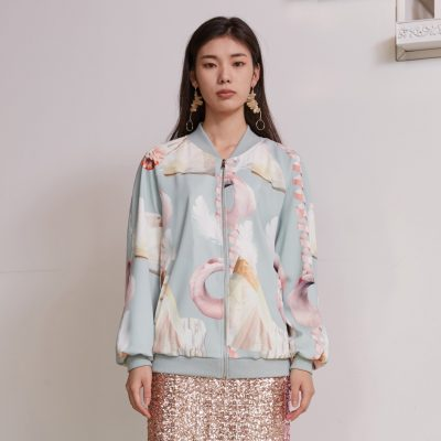 Mint Geometric Bomber Jacket