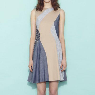 Mixed media sleeveless dress
