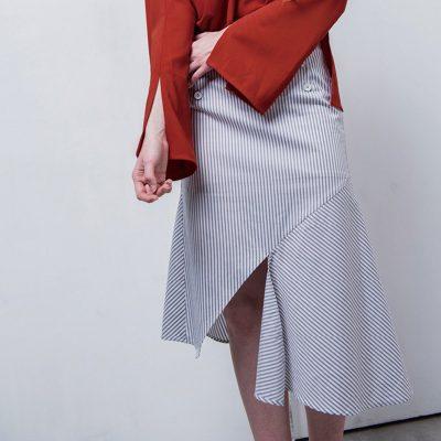 Terez Striped Drape Skirt