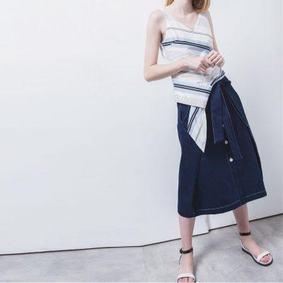 Rogan Denim Button-Up Skirt