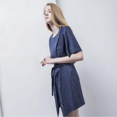 Leath Striped Utility Cotton Dress