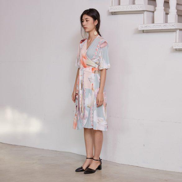 Orange Geometric Wrap Dress