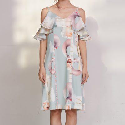 Mint Geometric Flounce Dress