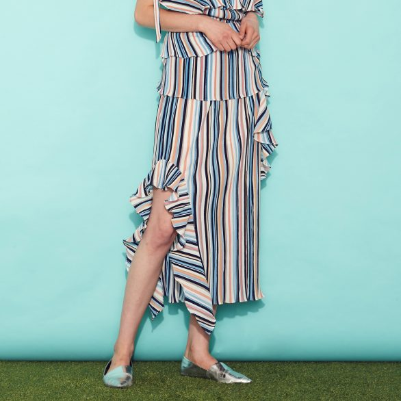 Seasonal Stripes Midi Skirt