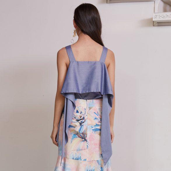 Blue Off-Shoulder Blouse