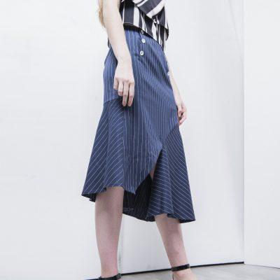 Leath Striped Draped Skirt