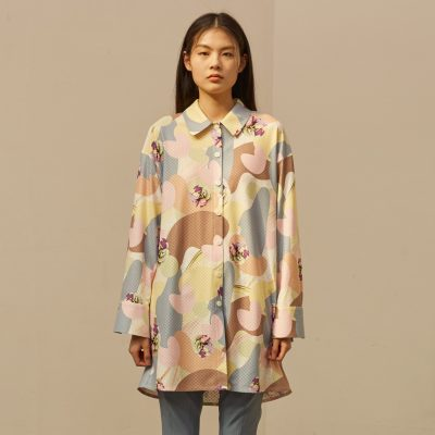 Camou Flower Blouse Dress