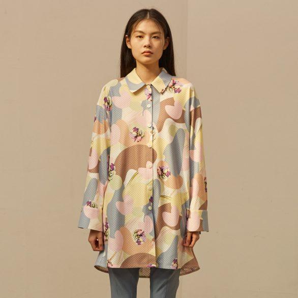 Camou Flower Blouse Dress
