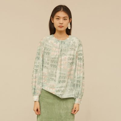 Mint Cube Gather Blouse