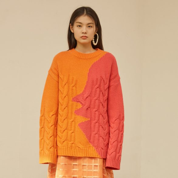 Orange Profile Lamb Wool Sweater