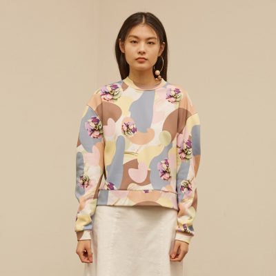 Camou Flower Volume Sweatshirt