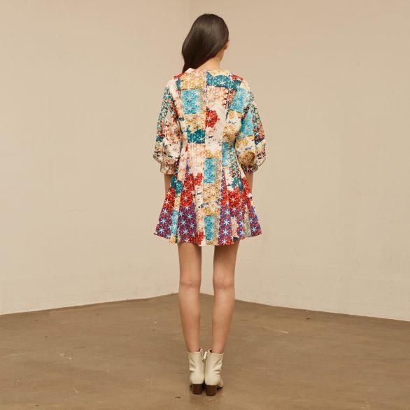 Mixcolour Check V-neck Dress