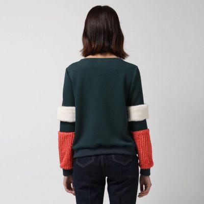 Furry Sleeves Jumper - Green
