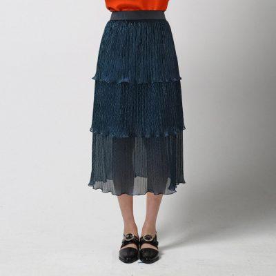 Glitter Tiered Midi Skirt - Blue