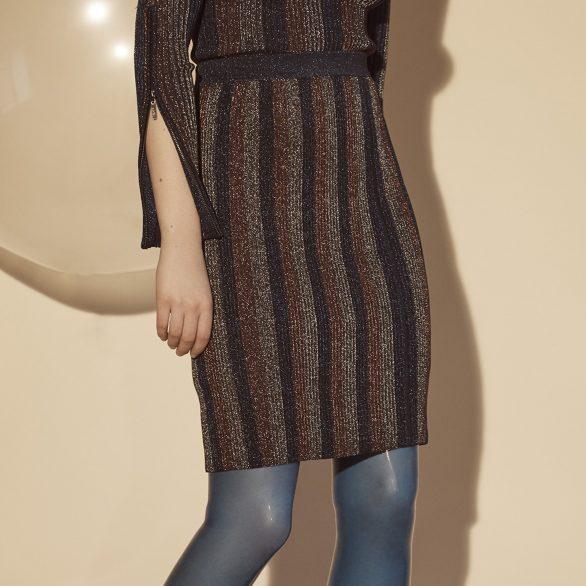 Alison Metallic Ribbed Skirt
