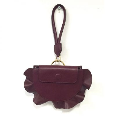 Burgundy Ruffle Mini Bag