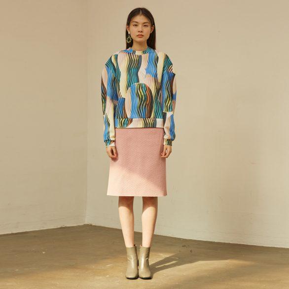 Pink Wool Midi Skirt