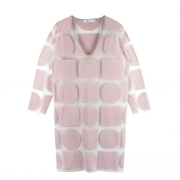 Jenna Graphic Sheer Long Sleeve Dress - Pink