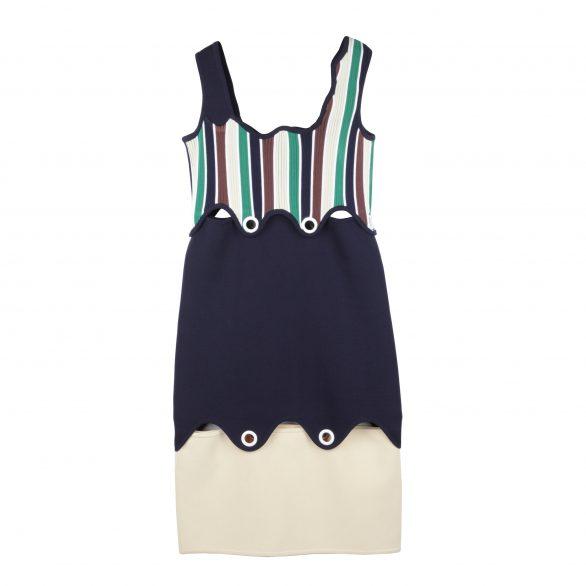 Eleni Colourblock Asymmetric Dress with Studs