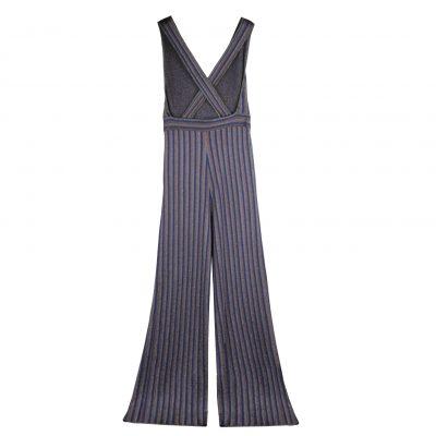 Sasha Metallic Striped Crossback Jumpsuit