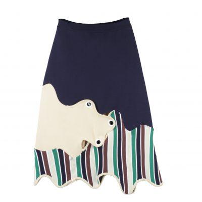 Ziva Colourblock Asymmetric Skirt with Studs
