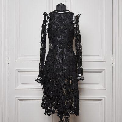 Coxcomb Waterfall Dress (Black)