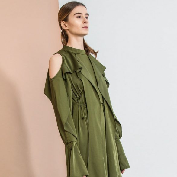 Green Bare Shoulder Dress