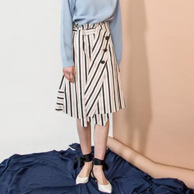 Pink Striped Deconstructed Skirt