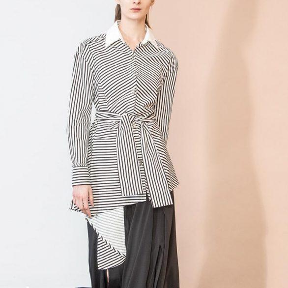 Black Stripe Wrap Panel Blouse