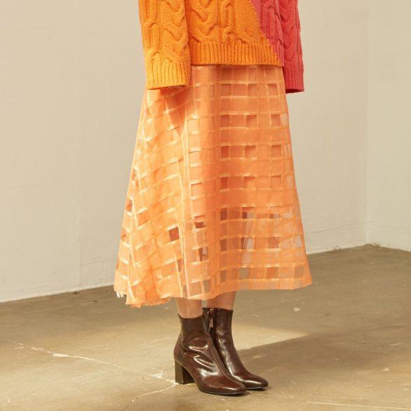 Orange Check Sheer Long Skirt